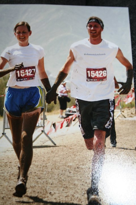 My wife and I crossing the finish line of The Warrior Dash - I was hurtin' bad…