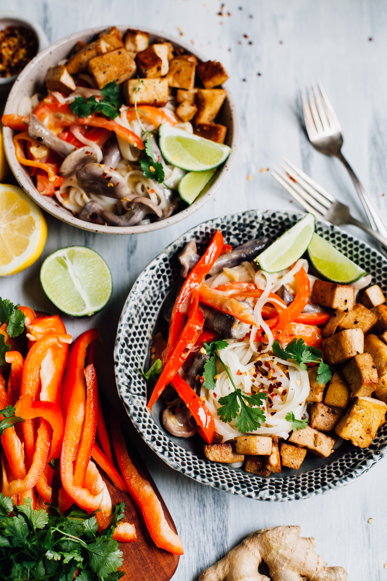 Vegan Thai-Style Coconut Lime Noodles with Tamari Fried Tofu