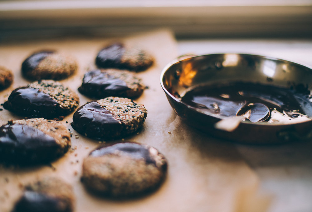 chocolate dipped tahini cookies | vegan gluten free recipe via willfrolicforfood.com