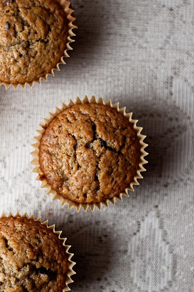banana chocolate chip einkorn muffins (dairy free) recipe via will frolic for food