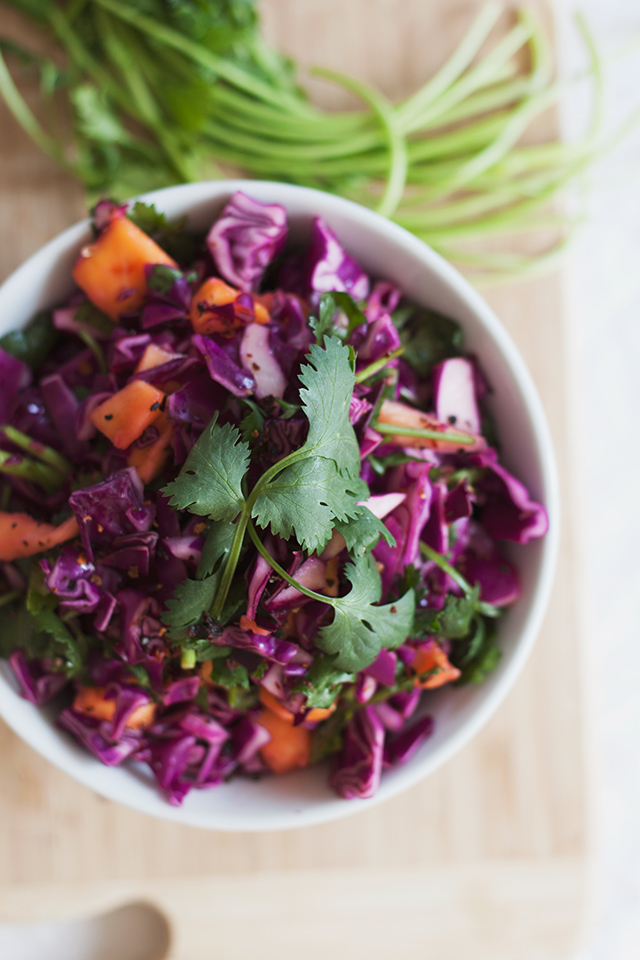 purple cabbage mango chipotle slaw