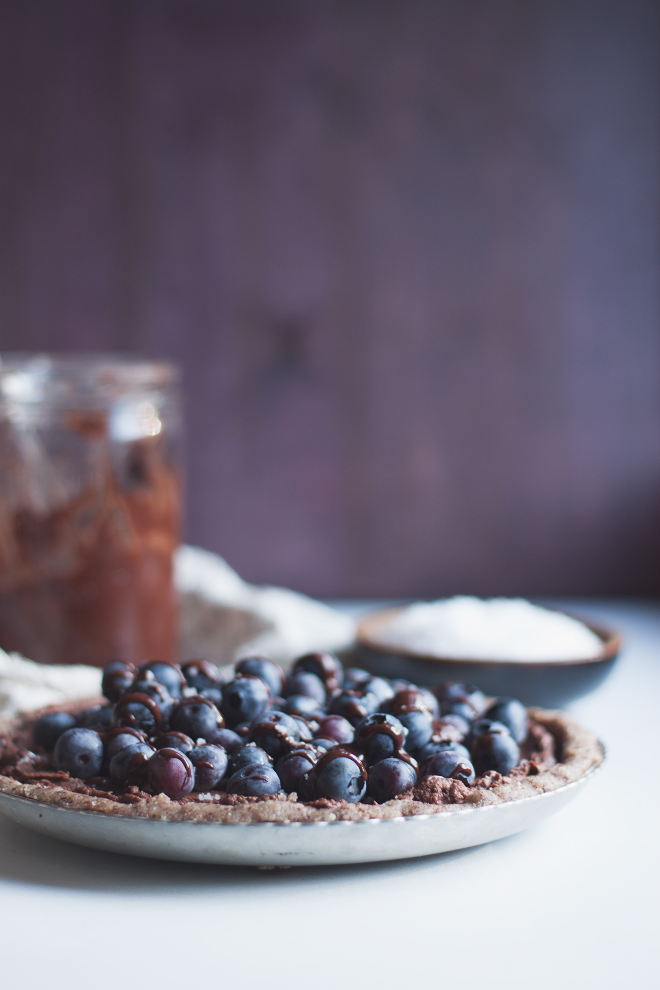 raw vegan salted blueberry tart w a hazelnut crust + JQ Dickenson Salt Giveaway via Will Frolic for Food