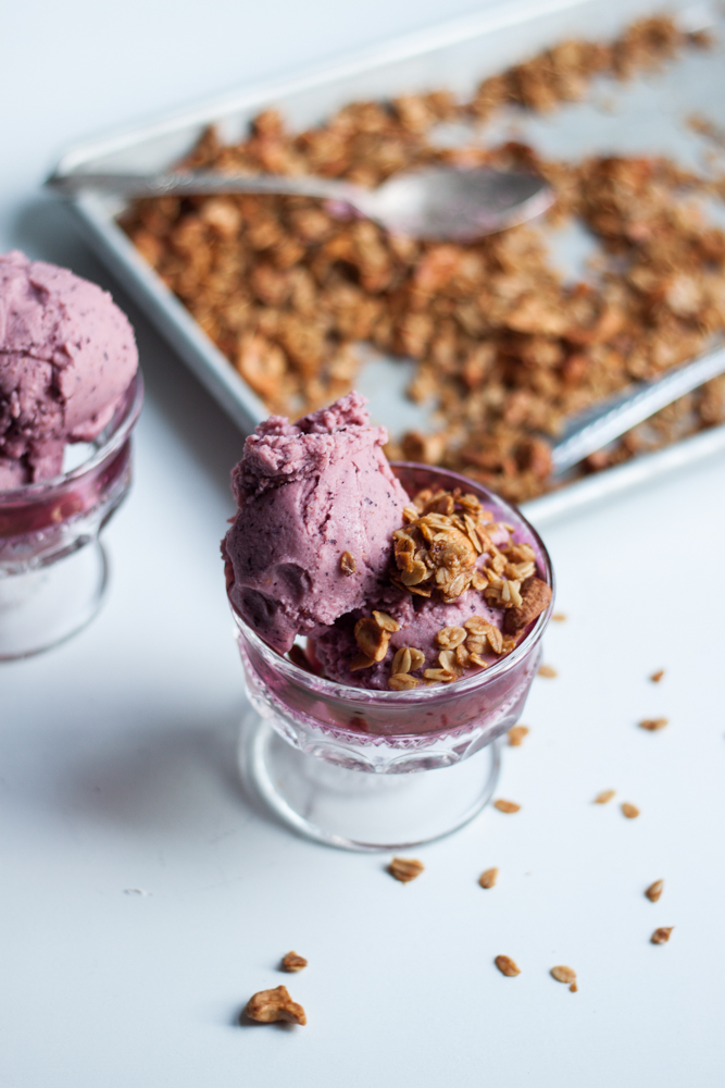 Coconut Berry Cobbler Ice cream recipe (dairy free, gluten free) via Will Frolic for Food