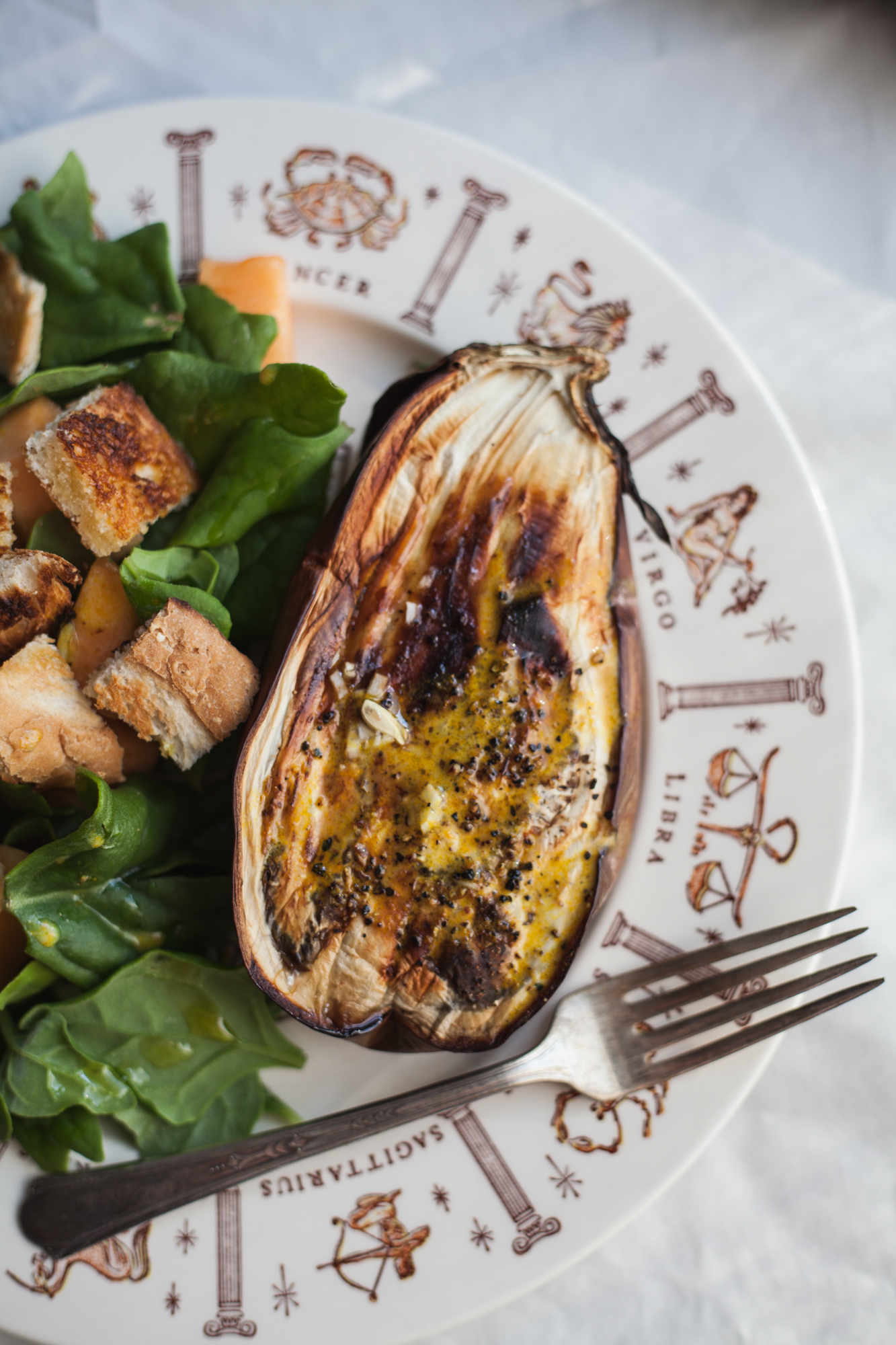 roasted eggplant with turmeric yogurt sauce | recipe via will frolic for food