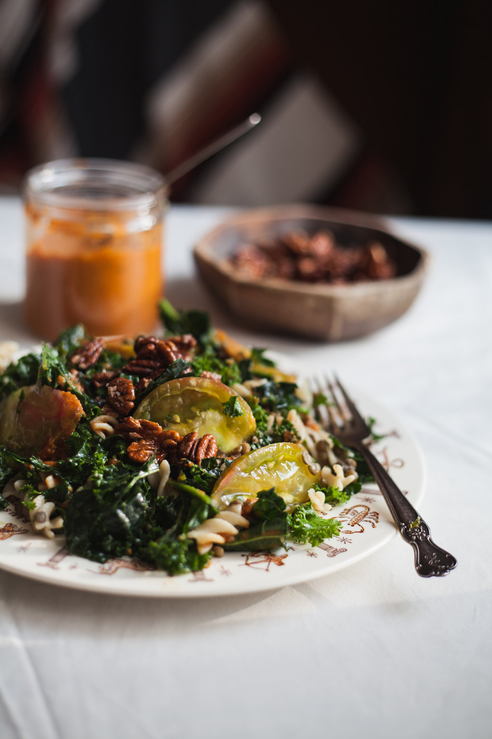 life changing kale lentil pasta salad w/ maple pecans | recipe via will frolic for food