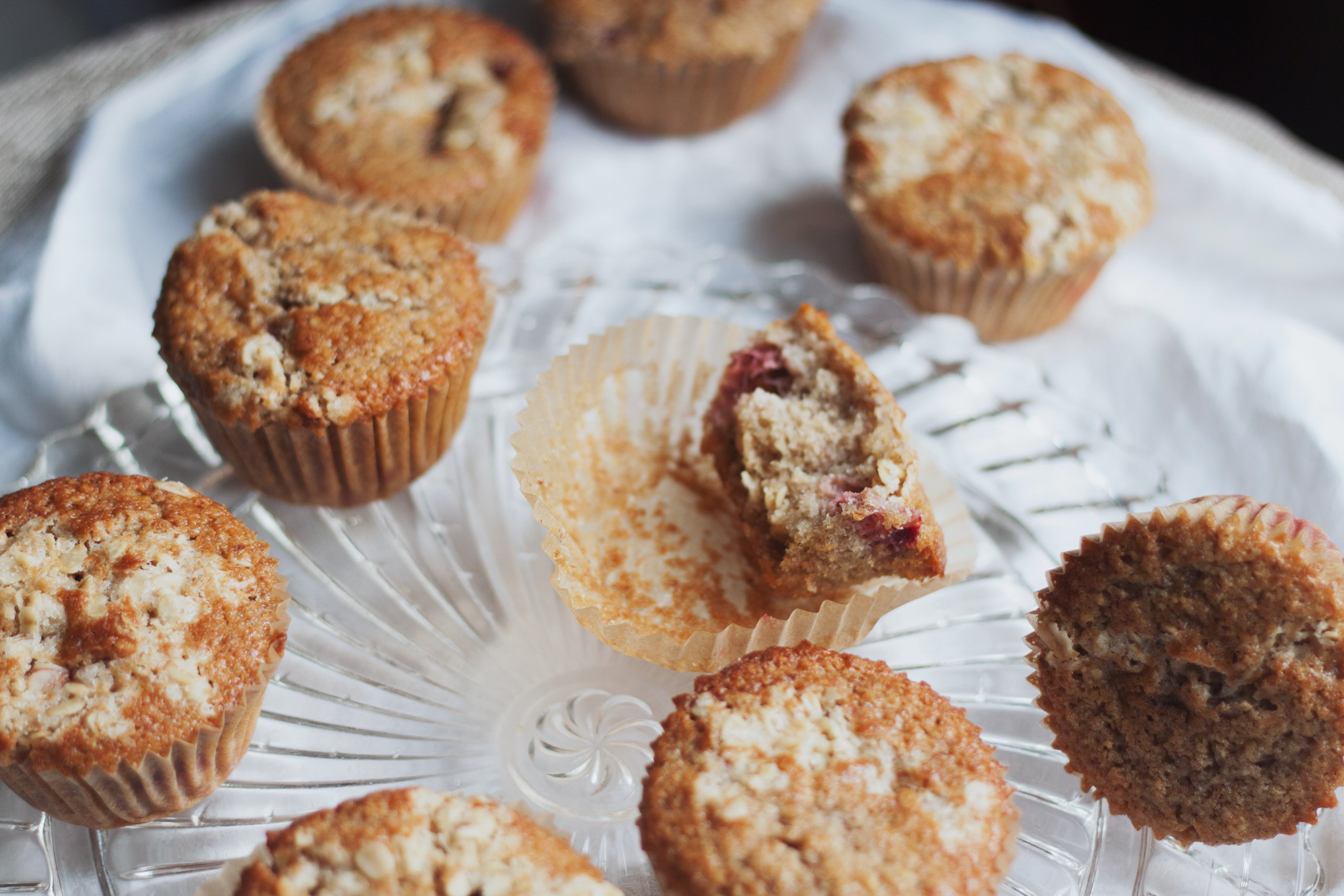 strawberry einkorn oat muffins made with einkorn, oat, and almond flour via will frolic for food