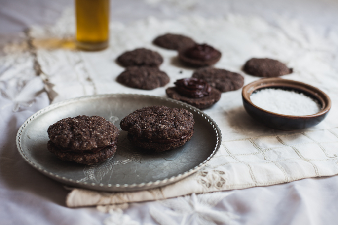double chocolate olive oil sea salt sandwich cookies (vegan, gluten free) | recipe via will frolic for food