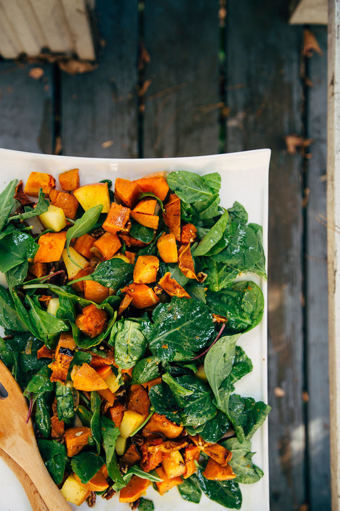 super simple fall seasonal magic salad via will frolic for food by Earthy Feast