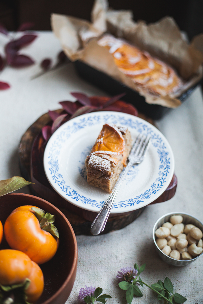 gluten free persimmon macadamia nut cake recipe via will frolic for food