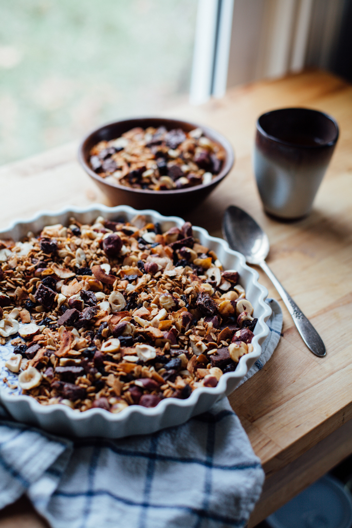 bohemian dream gift granola (coconut, cherry, hazelnut & hemp chocolate) via will frolic for food (gluten free, vegan)