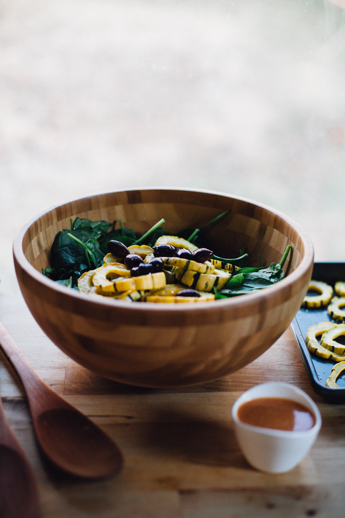 delicata squash sunshine salad w/ miso sriracha dressing via will frolic for food (vegan & gluten free)