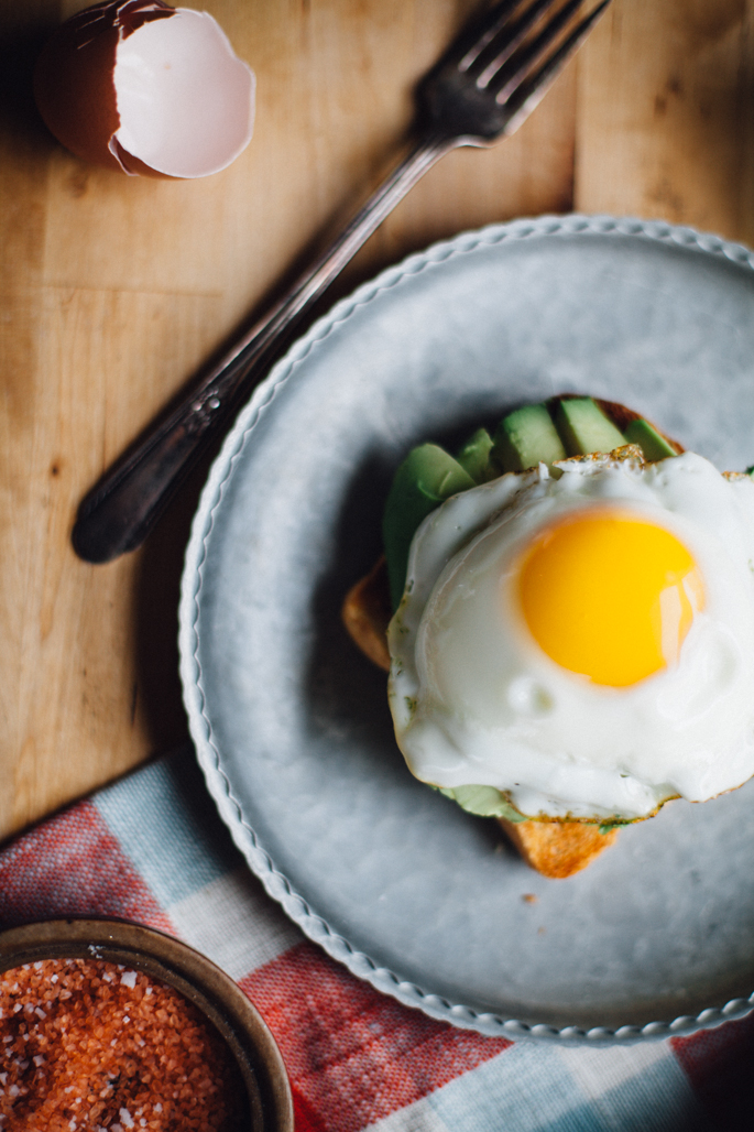 fried egg, kraut, and avocado toast (gluten free) via will frolic for food