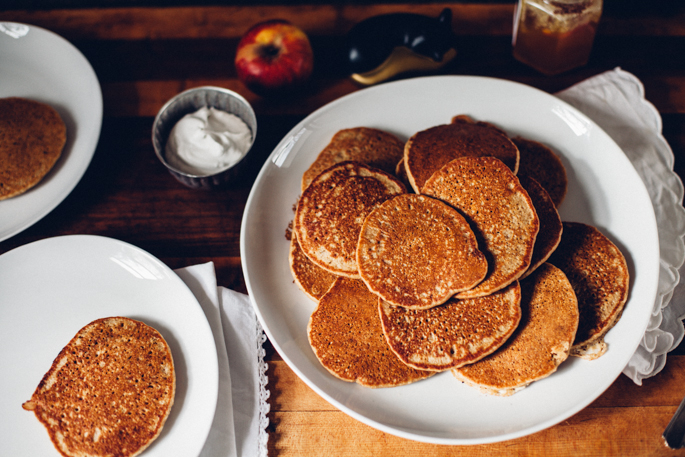 oat apple cider pancakes with coconut cream (gluten free) via will frolic for food