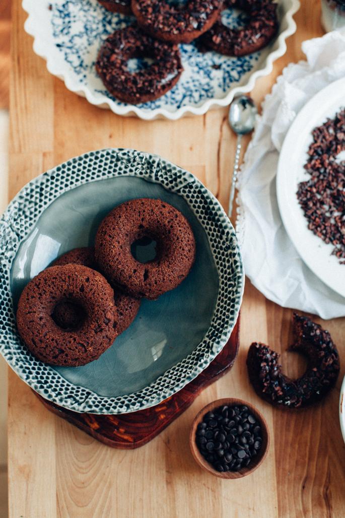 triple chocolate donuts (vegan, gluten free) via will frolic for food