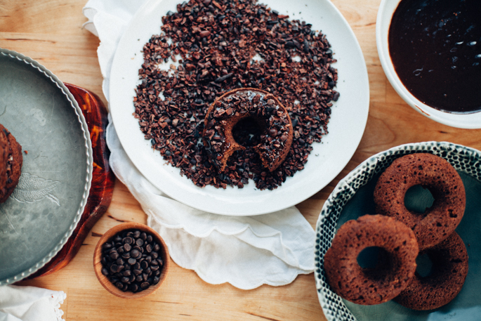 triple chocolate donuts (vegan, gluten free) via will frolic for food