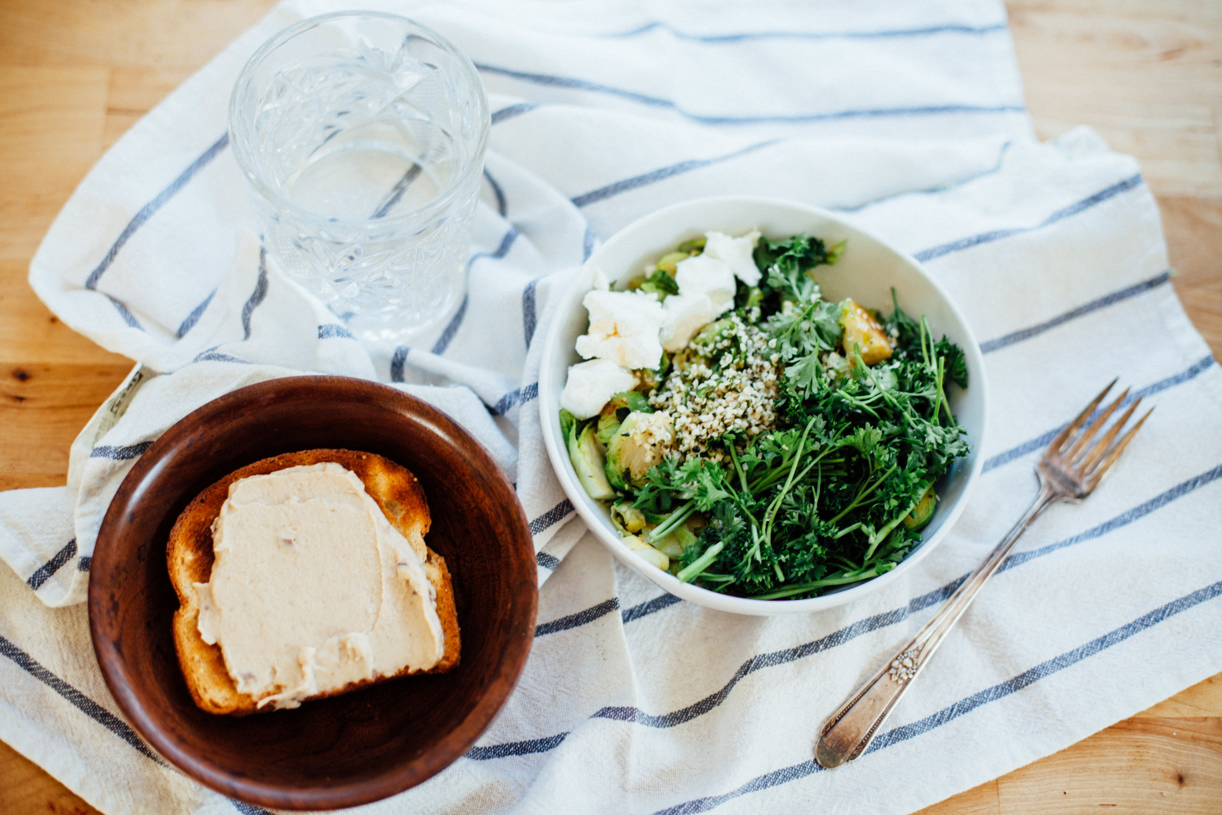 winter green goodness bowl with brussels sprouts and chèvre (recipe) via will frolic for food