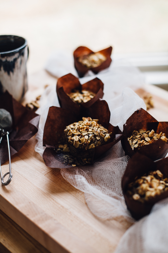 blueberry muffins w/ oat streusel -- made with oat & almond flours and sweetened with maple syrup! | vegan and gluten free recipe via will frolic for food