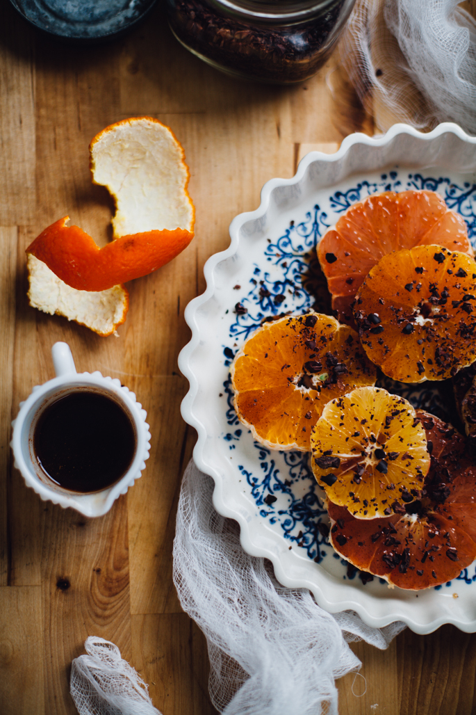cinnamon cayenne citrus salad topped with cacao nibs (a 5 minute recipe) via will frolic for food
