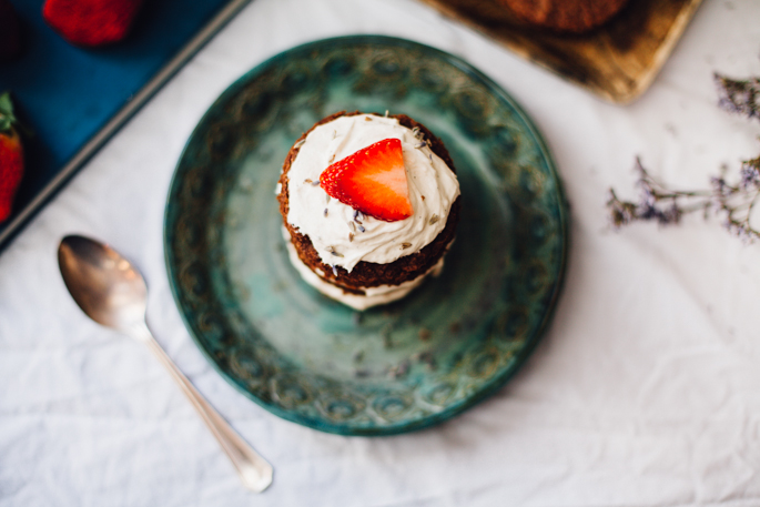 grain free mini chocolate cakes! filled with strawberry chia jam and a vegan lavender frosting. | gluten free dairy free recipe via will frolic for food