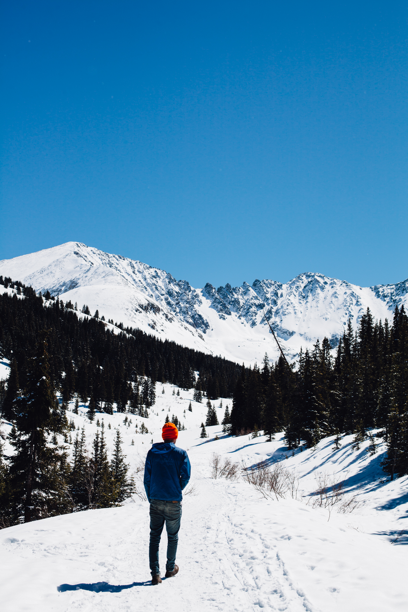 a winter hike in Frisco, CO