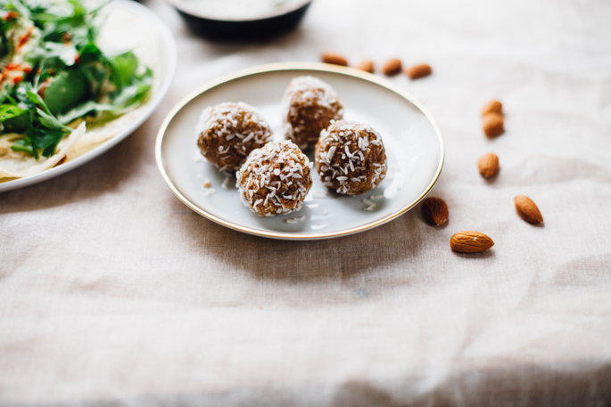 simple meal inspiration: power greens tortilla and almond butter coconut energy bites (vegan, gluten free) recipe via will frolic for food