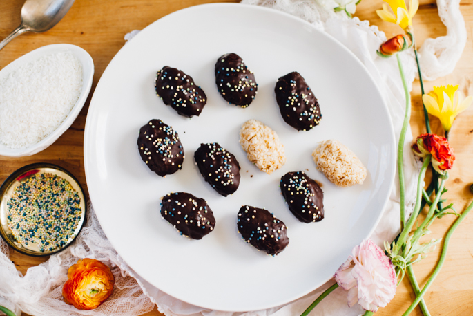 "tahini toasted coconut mounds ""eggs"" for easter (or just to celebrate Spring!) 