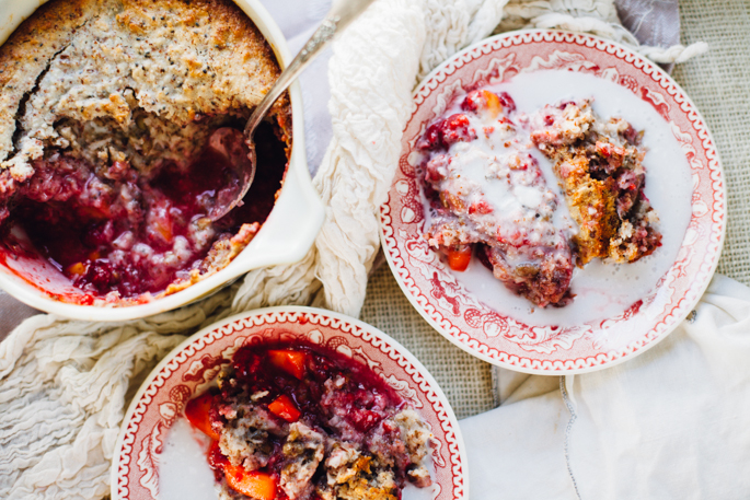 raspberry mango breakfast cobbler | paleo & vegan recipe via will frolic for food
