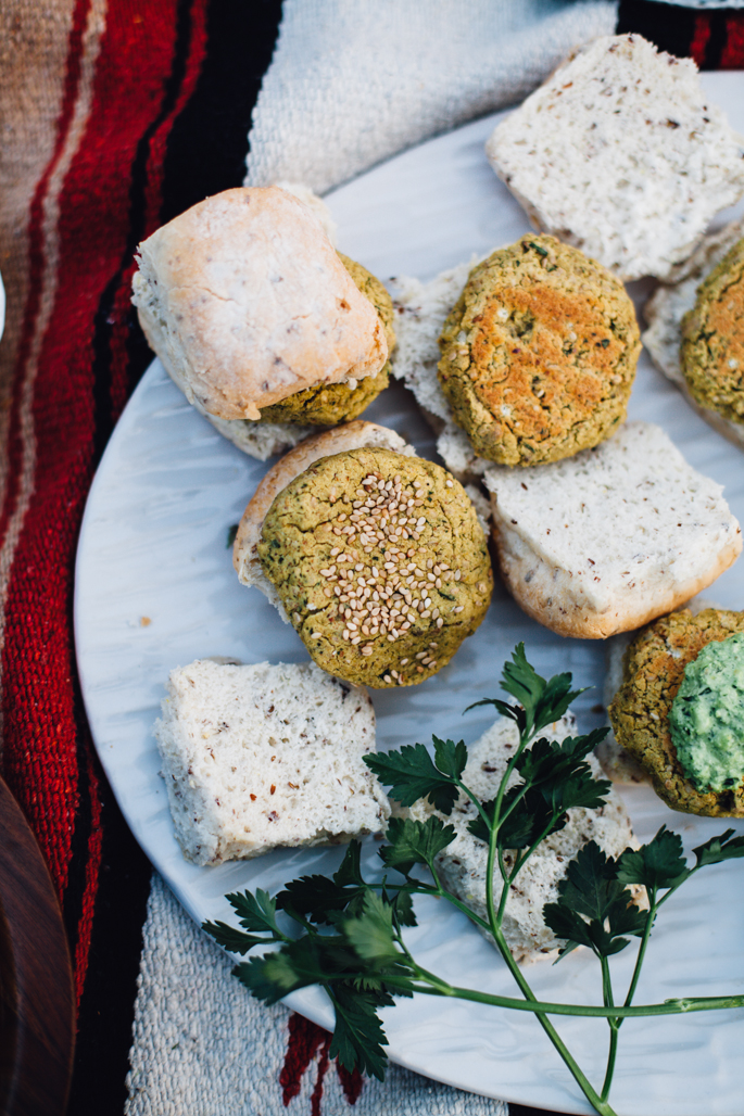 mini falafel burgers with cashew tzatziki that come together in under 30 minutes! vegan and gluten free recipe via will frolic for food