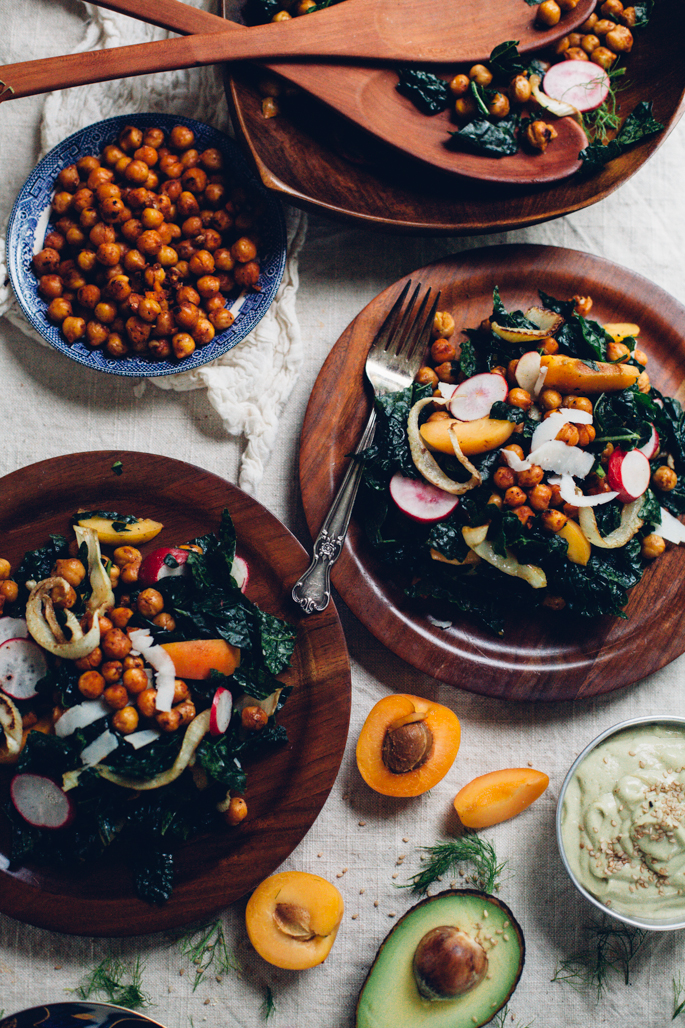 crisp chickpea & kale salad with fried fennel, apricots, and tahini avocado goddess dressing | recipe via will frolic for food