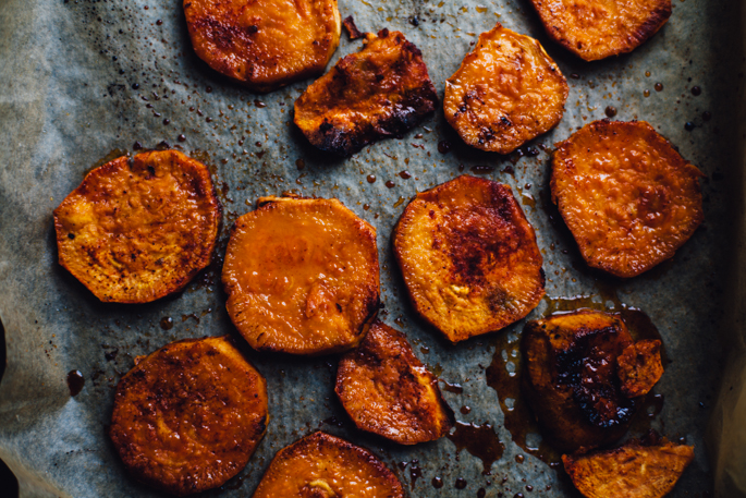 Maple Paprika Caramelized Sweet Potatoes | Vegan & Gluten Free Recipe via Will Frolic for Food