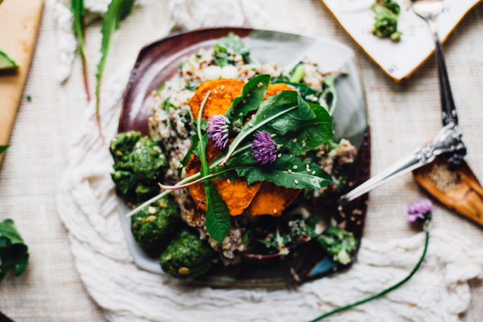 Dandelion Green Quinoa Risotto w/ Raw Hemp Falafel & Maple Paprika Caramelized Sweet Potatoes | Vegan & Gluten Free Recipe via Will Frolic for Food