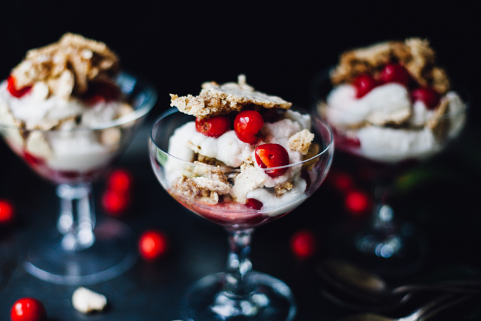 sour cherry hazelnut eton mess | dairy free, gluten free recipe via will frolic for food