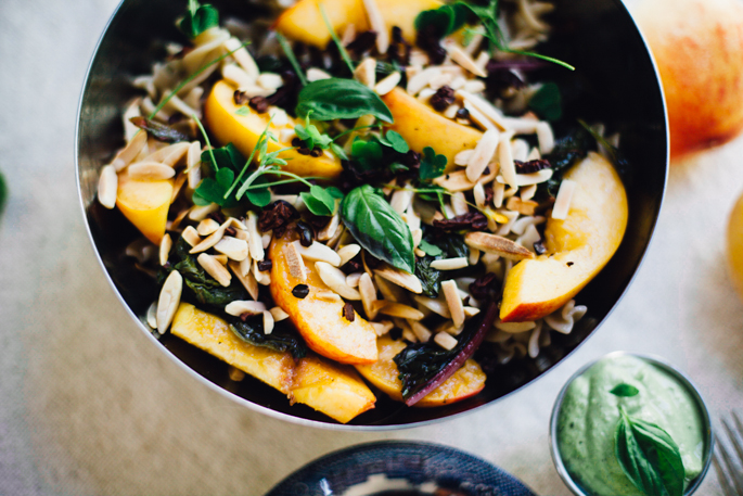 peaches and greens pasta salad with bliss inducing basil tahini sauce | vegan and gluten free recipe