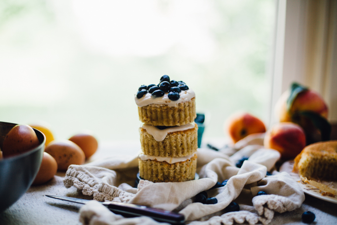 gluten free mini chiffon cake with easy halva frosting & blueberries | wheat free & dairy free recipe via will frolic for food