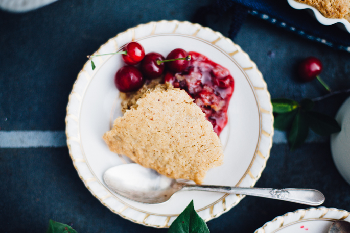 sour cherry spoon cake! made with natural sweeteners, coconut oil, and wheat free flours, it's a game changer! vegan & gluten free recipe via will frolic for food