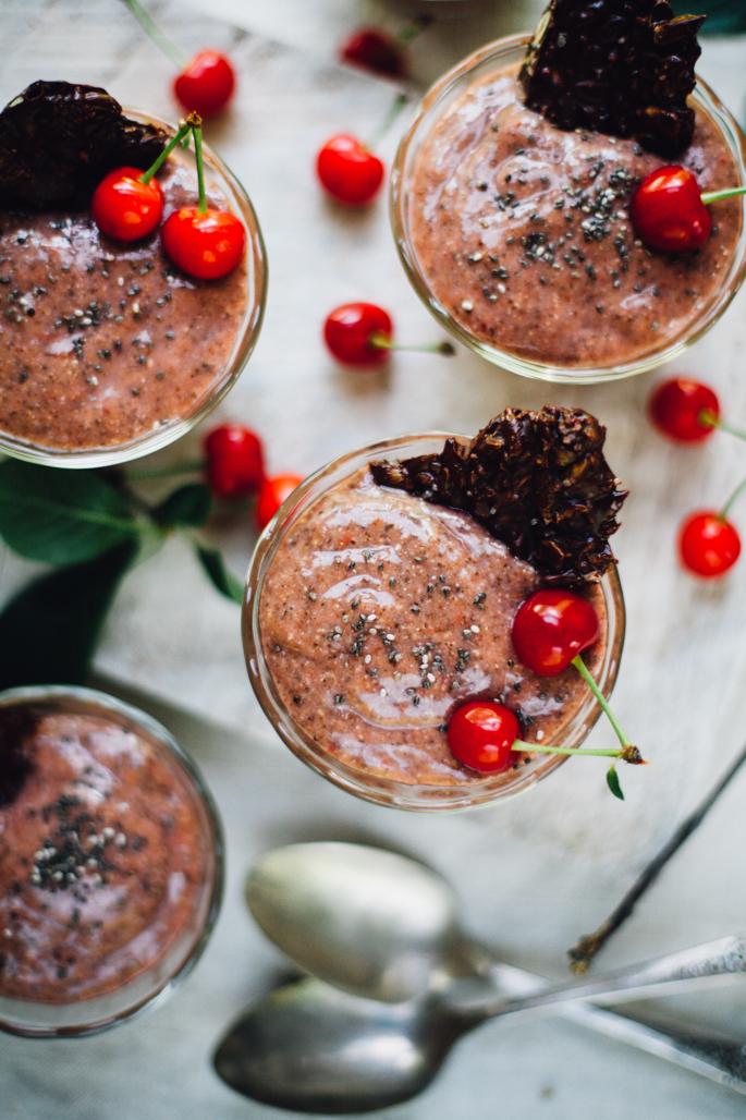 sour cherry vanilla chia pudding with dark chocolate super seed crisps | vegan & gluten free! via will frolic for food