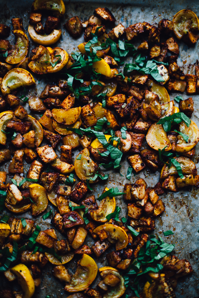 smokey roasted eggplant & summer squash with millet socca | vegan and gluten free recipe via will frolic for food