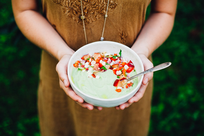 chilled avocado soup with plum pico de gallo | raw, vegan, gluten free recipe via will frolic for food