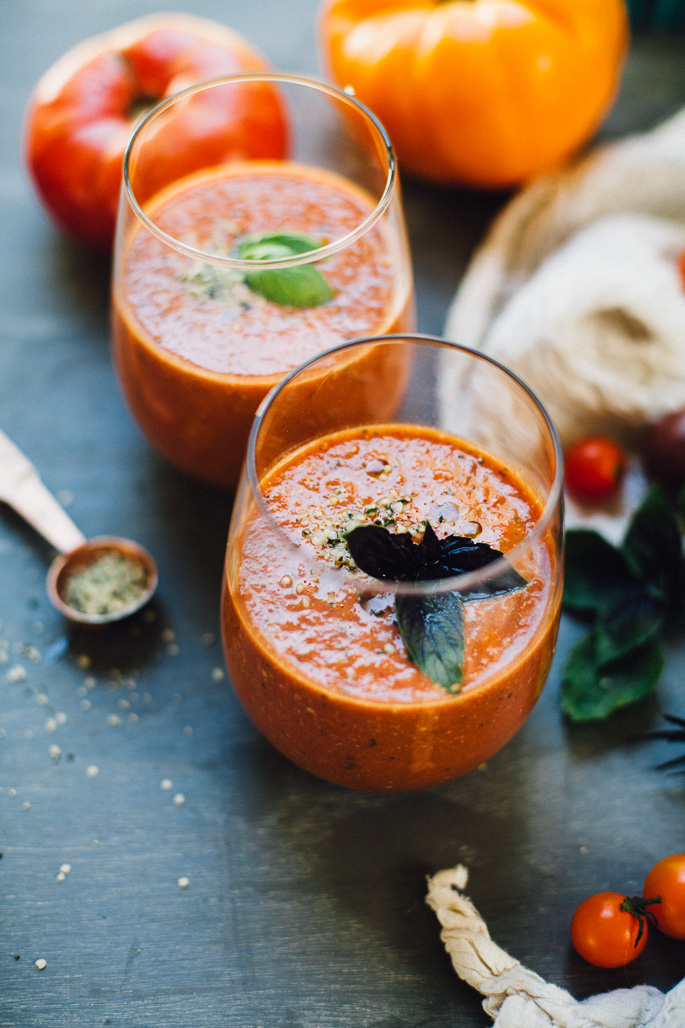 heirloom tomato & hemp gazpacho | recipe via willfrolicforfood.com