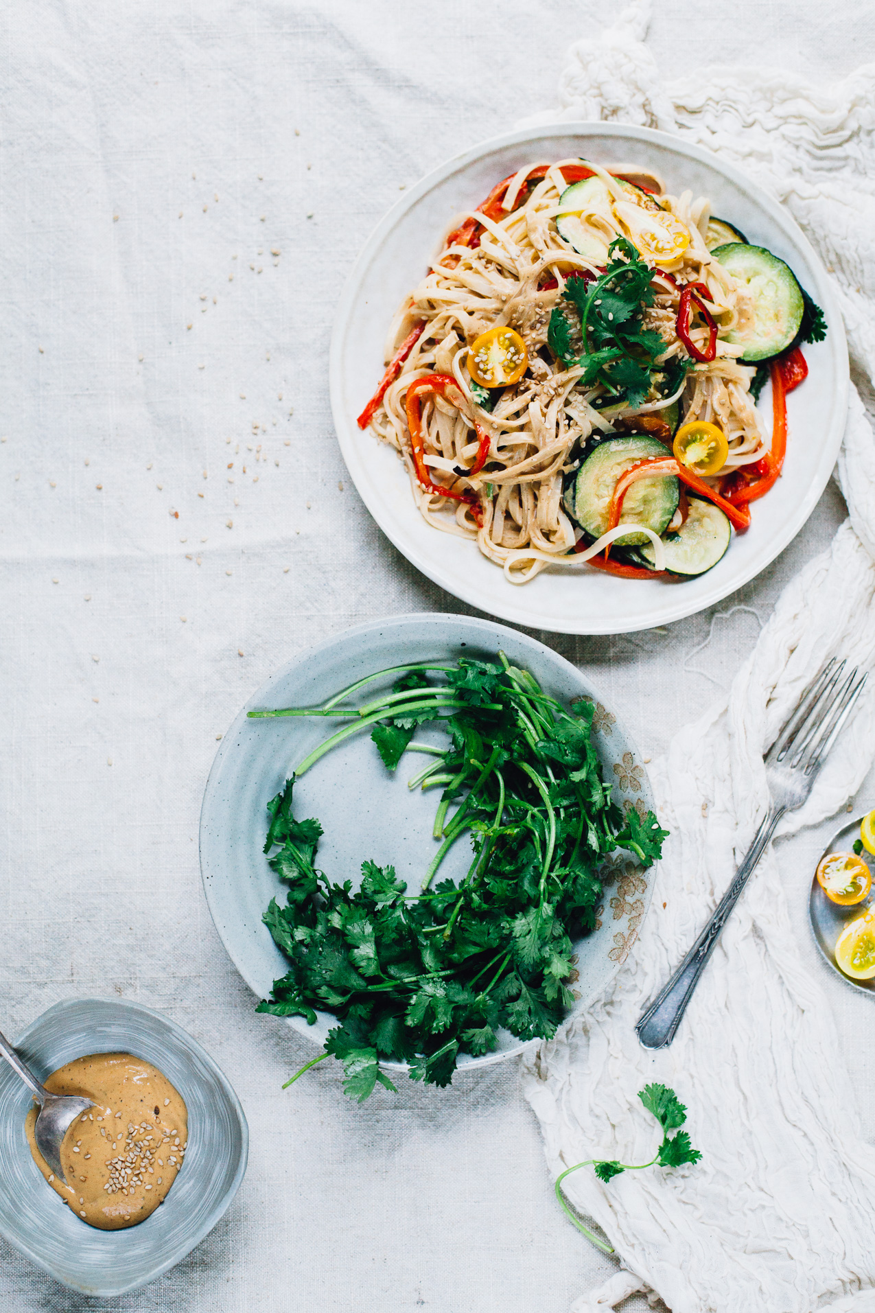 vegan tahini pad thai | recipe via willfrolicforfood.com