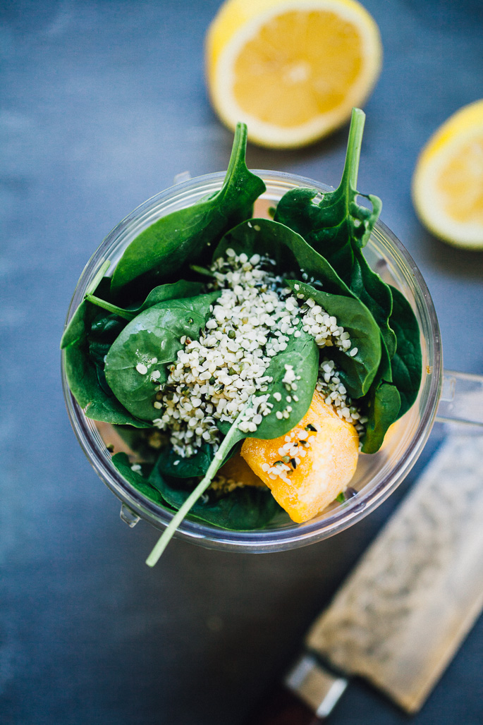 Mango Green Smoothie Bowl with coconut water, hemp hearts, and cardamom | recipe via willfrolicforfood.com
