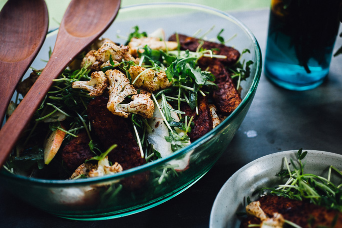 cinnamon roasted cauliflower and tempeh bacon salad with sprouts & apple | recipe via willfrolicforfood.com
