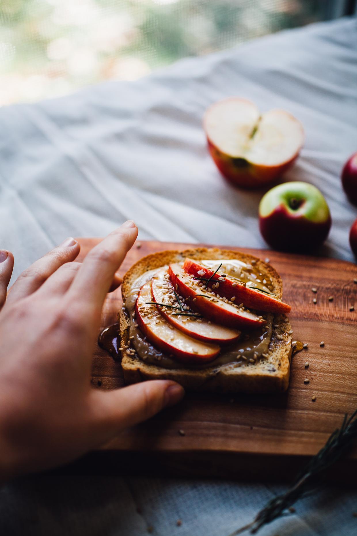 tahini honey toast with apple, rosemary and sea salt | willfrolicforfood.com