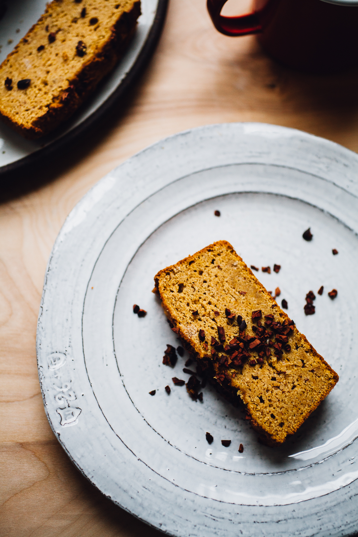 gluten free pumpkin bread with cacao nibs (dairy free, vegan option) | willfrolicforfood.com