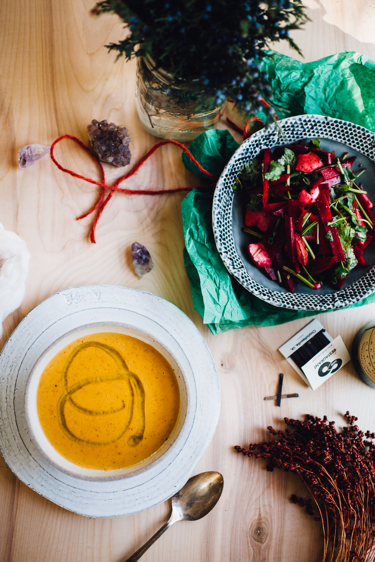 sweet potato coconut milk soup with bright beet salad | recipe via willfrolicforfood.com