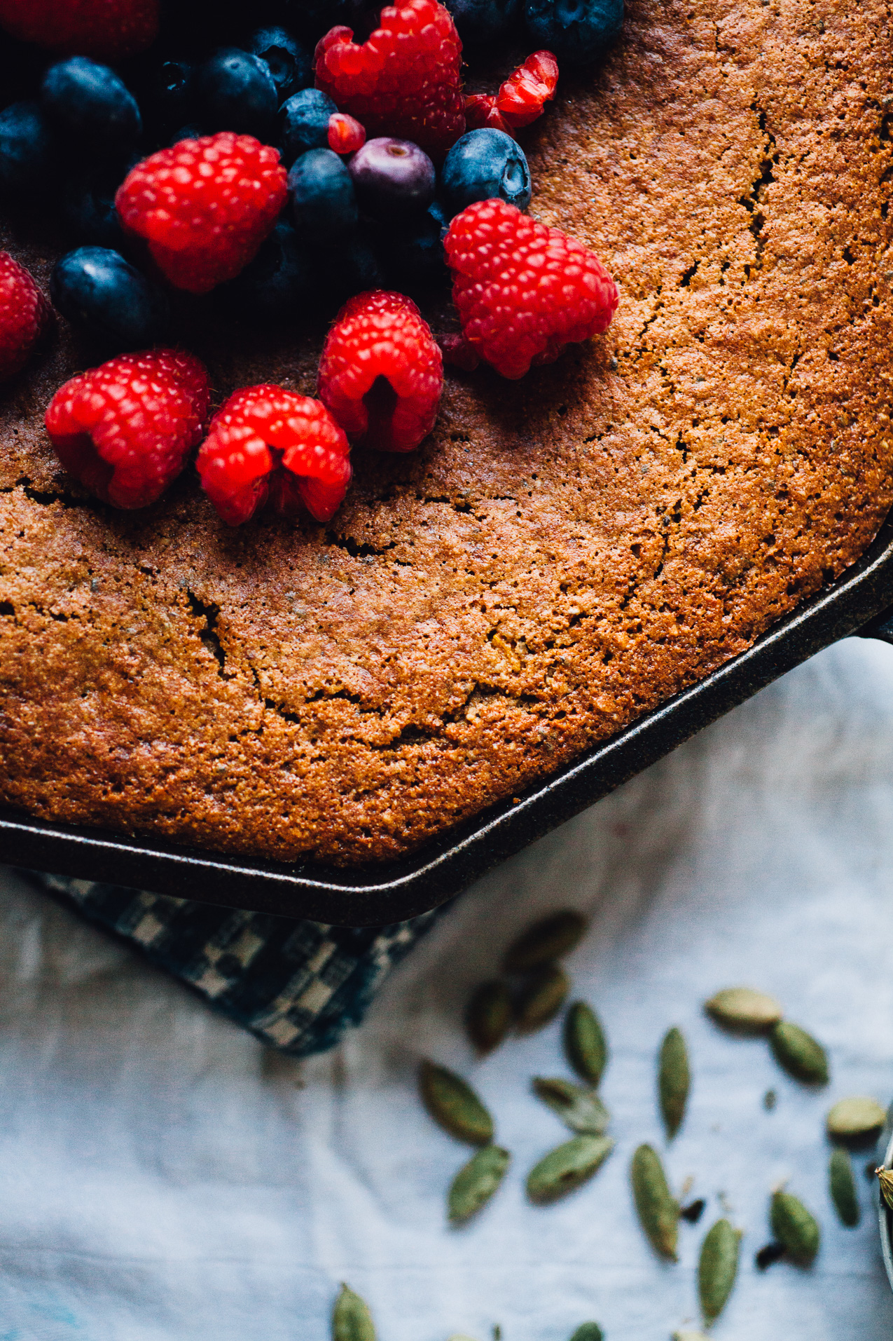 Gluten Free Berry Skillet Cake (Dairy Free & Low Glycemic) | Recipe via willfrolicforfood.com