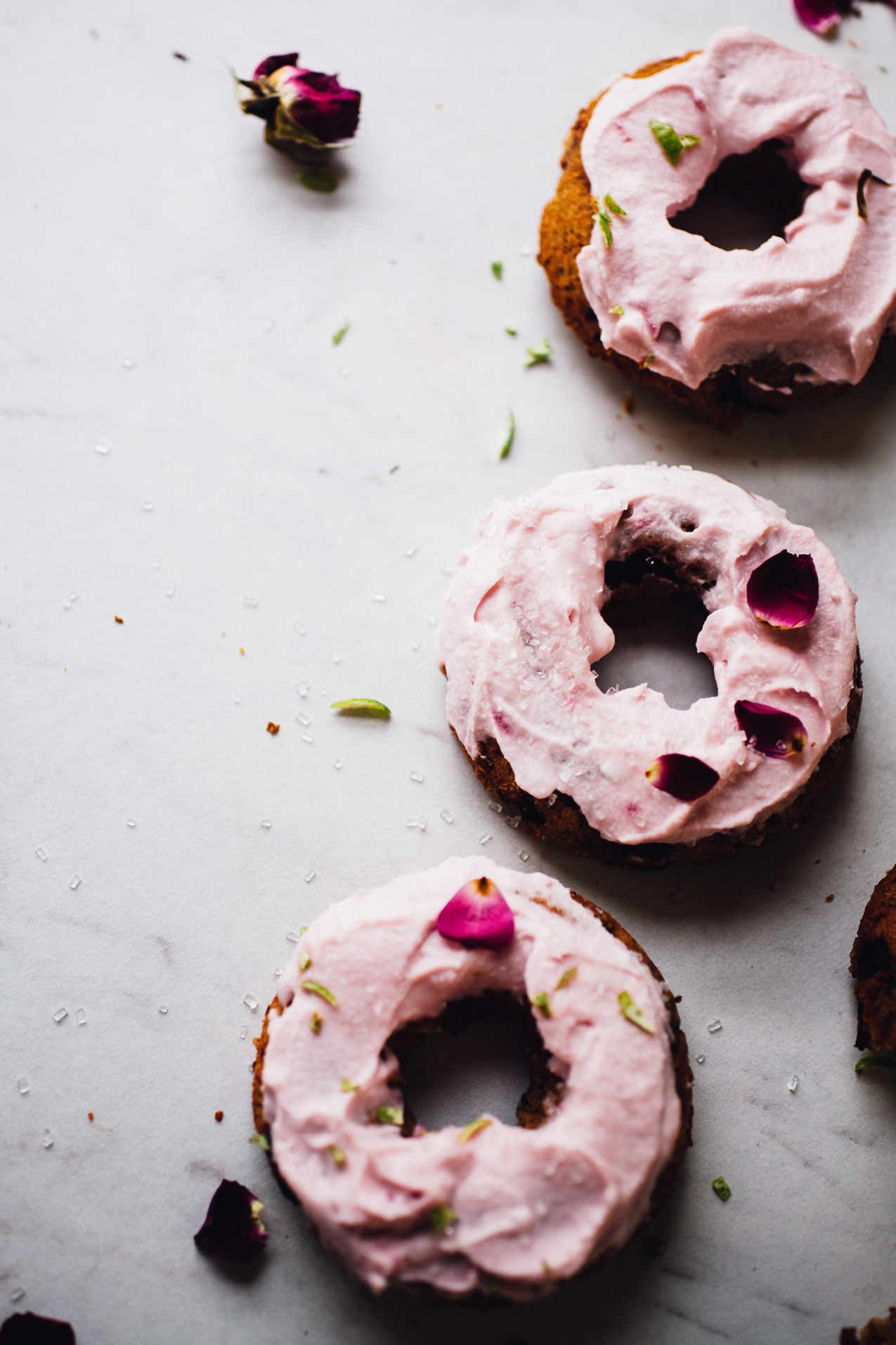 gluten free vegan doughnuts with cherry & lime -- topped with pink coconut whipped cream! recipe via willfrolicforfood.com