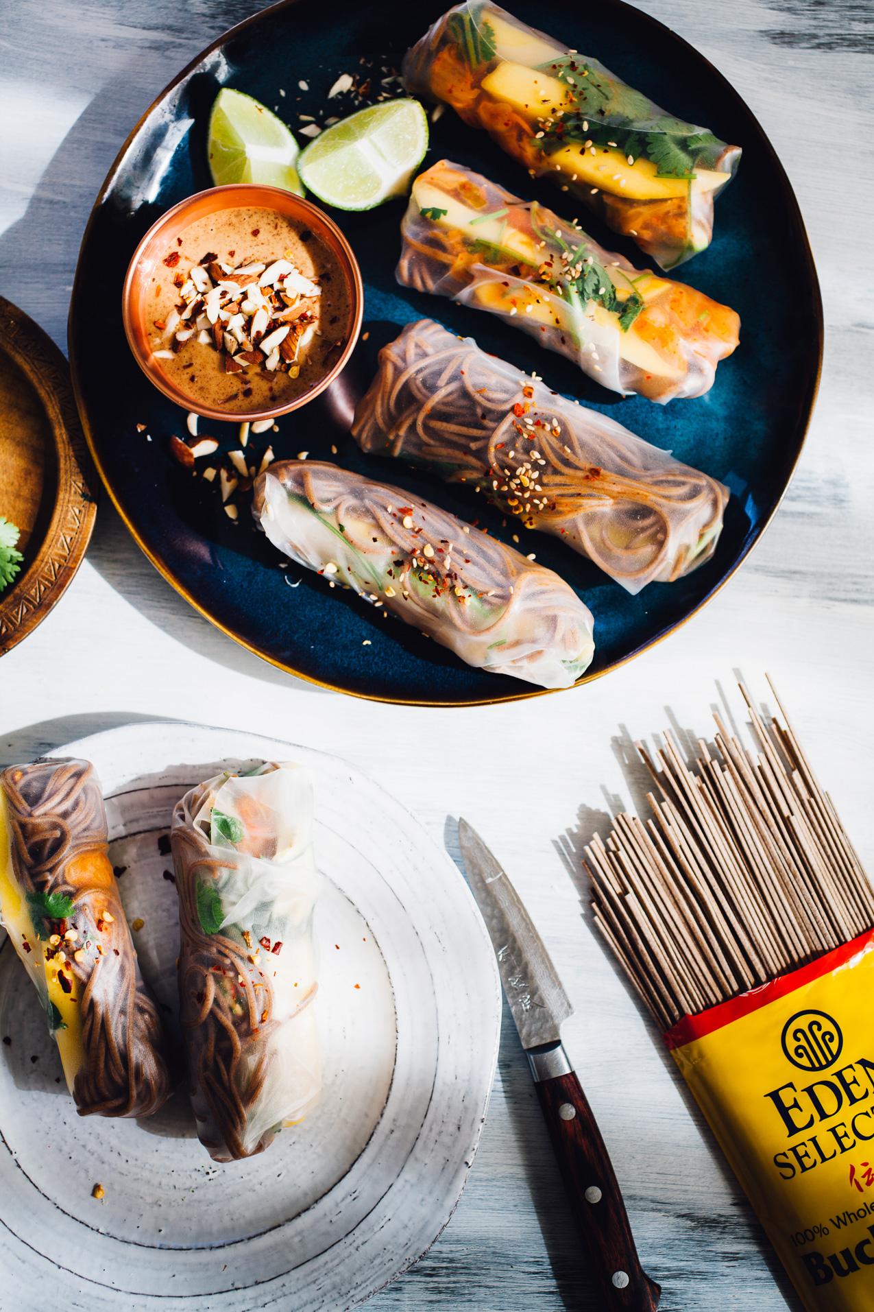 kimchi buckwheat soba summer rolls with almond butter dipping sauce | vegan gluten free recipe via willfrolicforfood.com