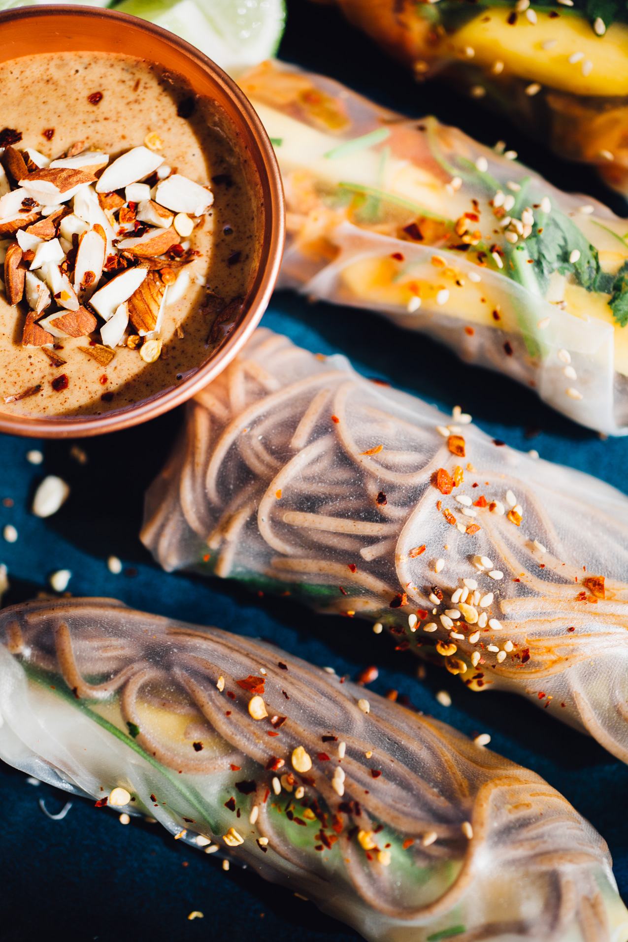 kimchi buckwheat soba summer rolls with almond butter dipping sauce | vegan gluten free recipe via willfrolicforfood.com