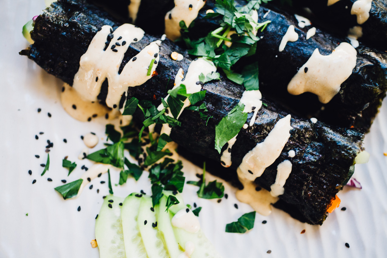 sunrise nori wraps with spicy tahini sauce | recipe from Eating Clean via willfrolicforfood.com